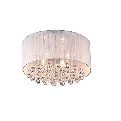 Flush Mount 4-Light Chrome and White Cloth Shade Crystal Chandelier