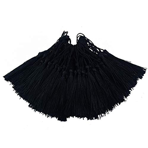 Aokbean 100pcs 5 Inches Handmade Silky Floss Soft Craft Bookmark Tassels with Loops for DIY, Jewelry Making, Graduation Tassel,Bookmarks,Souvenir (Black)