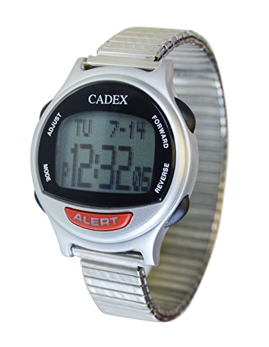 E pill cadex medication 12 alarm reminder watch with medical id stainless steel expansion band for Cadex watches