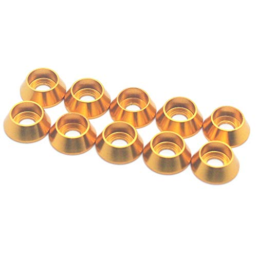 - 50PCS M5 Cone Washer Aluminum Alloy Cone Cup Head Screw Gasket Conical Fender Washer (Gold)