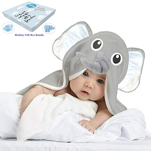 Baby Toddler Towels with Elephant Hood for Kids - Large Soft Gray Organic Bamboo Babies Blanket with Washcloths