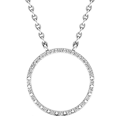 Dazzlingrock Collection 0.10 Carat (ctw) Round Diamond Ladies Circle Pendant (Silver Chain Included) 1/10 CT, Sterling Silver