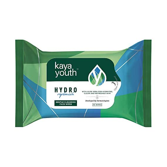 Kaya Youth Hydro Replenish Gentle Cleansing Wet Face Wipes with Aloe Vera, Remove Dirt, Oil, Pollutants,Developed by