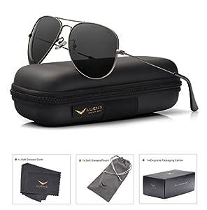 LUENX Men Aviator Sunglasses Polarized Women : UV 400 60MM with case Classic style