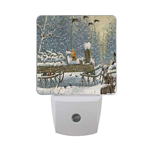 Night Lights for Kids Room/Hallway/Stairs/Bedroom Winter Woods Deer Tree Christmas Fox Cardinal Anim,LED Light Lamp