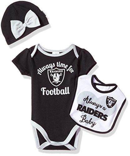 NFL Oakland Children Girls Bodysuit, Bib & Cap Set, 3-6 Months, Raiders