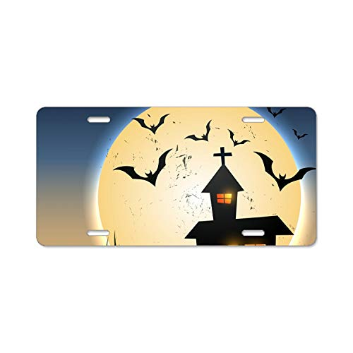 SUJQNGC Halloween Night License Plate Frames Alumina Car Licence Plate Covers Slim Design for US -
