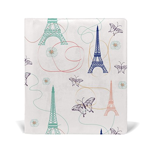AURELIOR Paris Eiffel Towers With Butterflies Pattern Stretchable PU Leather Book Cover 9 x 11 Inches Fits for School Hardcover Textbooks for cheap