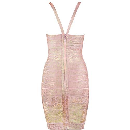 36 rot Pink HLBCBG rot Damen Gold Kleid qIESS7w