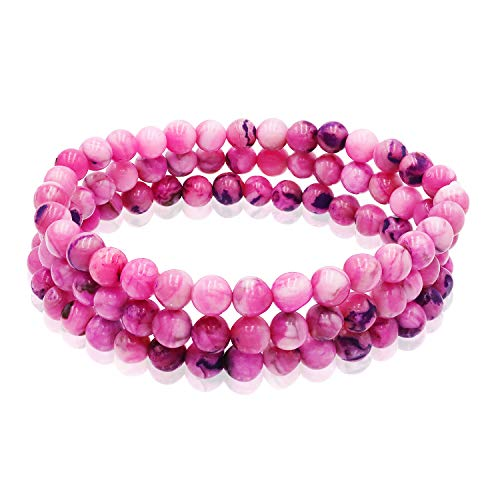 (Sea of Ice 3-Row Pink Agate 6mm Beads with Sterling Silver Bars Stretch Bracelet for Women Girls, 7.5