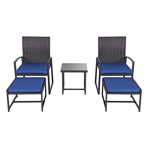 kinbor 5 Pieces Outdoor Backyard Wicker Furniture Set Patio Balcony Deck Chair with Ottoman Conv ...
