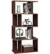 Rustic Bookcase Geometric Bookshelf Home Office Storage Shelves Vintage Display Shelf 4 Tiers Mod...