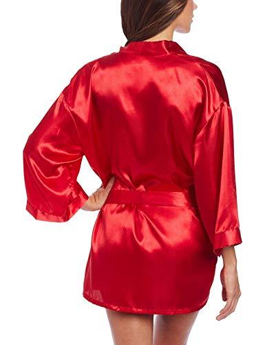 (Kebinai Women's Shalimar Charmeuse Babydoll with Robe and Padded Hanger,Large,Red)