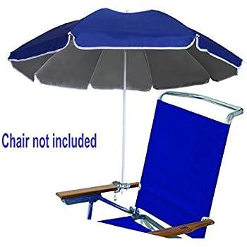 AMMSUN 4.5ft Portable Beach Chair Umbrella Lightweight Balcony Parasol +  Clamp On Screw Beach Clip