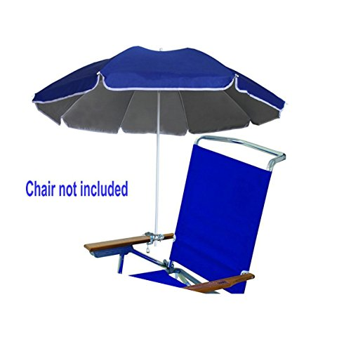 AMMSUN 4.5ft Portable beach Chair Umbrella Lightweight Balcony Parasol + Clamp On Screw, Beach Clip Umbrella Sun Shelter Shade Silver Coating Inside Royal Blue (Chair not (Heavy Duty Lightweight Instant Steel)