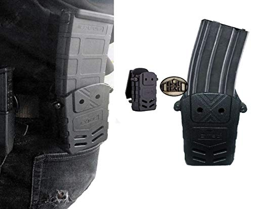 (Magazine Pouch, The Ultimate Single or Double Stack, M16, AR15, M16.556 .223 Magazines, PMAG, Most Other Magazines. Belt Clip Style, Quick Draw, Ambidextrous, Polymer, Police Tactical Gear)