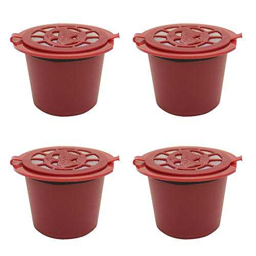 4pcs/Set Reusable Coffee Capsule Filter Shell for Nespresso Machine - Red