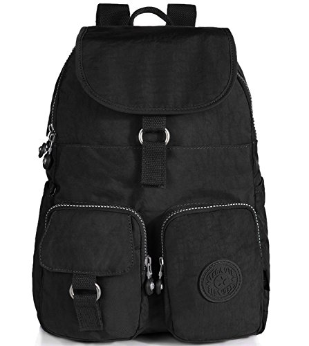Mini Backpack Nylon Travel Daypack Cute Schoolbag (1501 Black)
