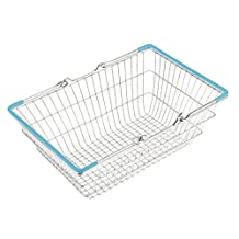 Generic Blue Medium Metal Shopping Basket Table Storage Basket Kids Role Play Toys