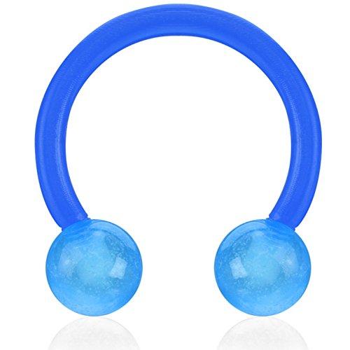 16 Gauge Flexible Glow in the Dark Horseshoe Rings Circular Barbells - Sold in Pairs (Glow In The Dark Horseshoes)