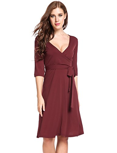 ANGVNS Women's Half Sleeve V-Neck Solid Knee Length Wrap Dress with Belt