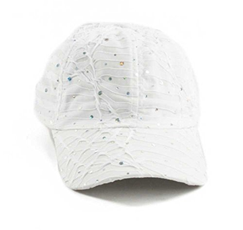 Sequin Baseball Cap - Glitter Sequin Baseball Cap Bling Bling Cap or Hat (White)
