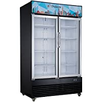 Dukers Appliance USA DUK600172574530 Two Swing Glass Door Merchandiser Refrigerator, 47 Width x 29 Depth x 79 Height- 34 cu. ft., Black