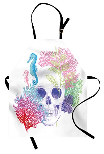 Lunarable Animal Apron, Halloween Skull Skeleton Head with Coral Reef Dead Aquarium Pirate Wildlife Image, Unisex Kitchen Bib Apron with Adjustable Neck for Cooking Baking Gardening, Multicolor