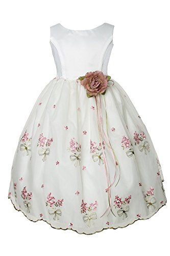 Kids Dream Embroidered Sheer Organza Flower Girl Dress - Ivory Rose 12