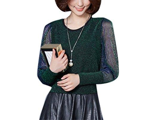 Green shirt T In Slim Brillante Seta Donna Da Yuch Tuta z7dBwzx