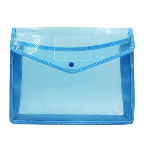 Expanding Poly File Folder Organizer Plastic Envelop Pocket Flolders Papers Storage Document Wallet with 2.8 Inch Expansion,Business Card Holder,Snap Closure,Translucent Color,Blue (Snap Card Expansion)