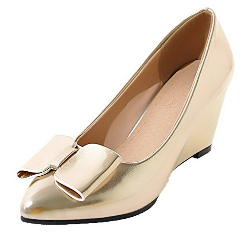 AmoonyFashion Solid Patent Shoes Closed Square Leather Kitten Gold Toe Heels Women's Pumps rqBrw1Z