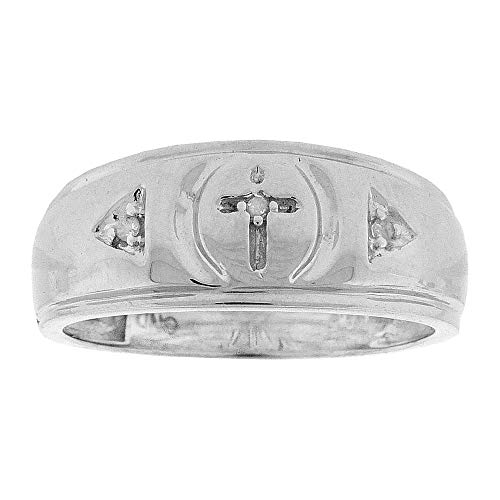 Diamond Mens Cross Wedding Band Ring 1/20ct 925 Sterling Silver