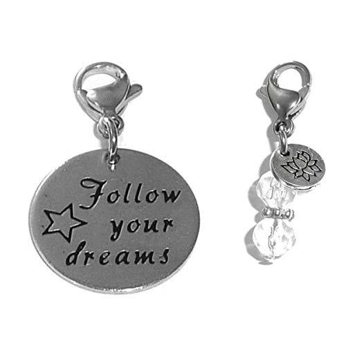 Hidden Hollow Beads Clip On Charm, Bag, Purse, Handbag, Message, Keychain, Zipper Pull, Bracelets, Necklaces, Jewelry (Follow Your Dreams)