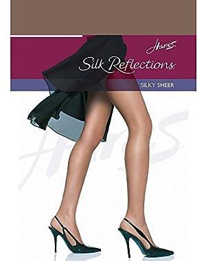 Hanes Women`s Silk Reflections Non-Control Top Reinforced Toe Pantyhose,00716