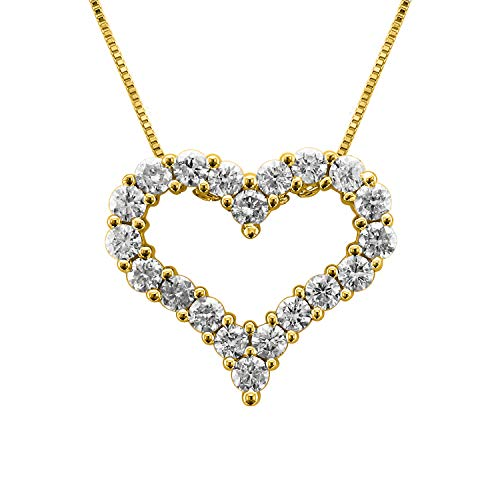 IGI Certified 14K Yellow Gold Heart Diamond Pendant Necklace (1 (1 Carat Diamond Heart Pendant)