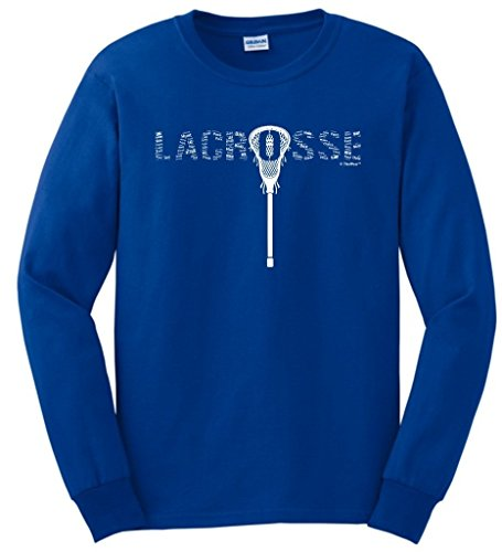 ft Lacrosse Word Collage Lacrosse Fan Gift Long Sleeve T-Shirt Large Royal ()