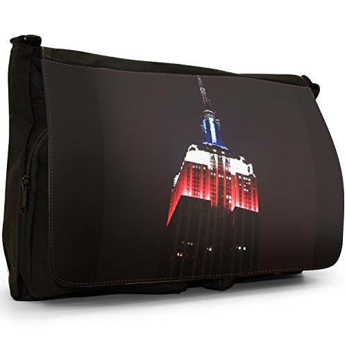 Fancy A Bag Borsa Messenger nero World Famous Wall Street Sign Empire State New York Red White Blue