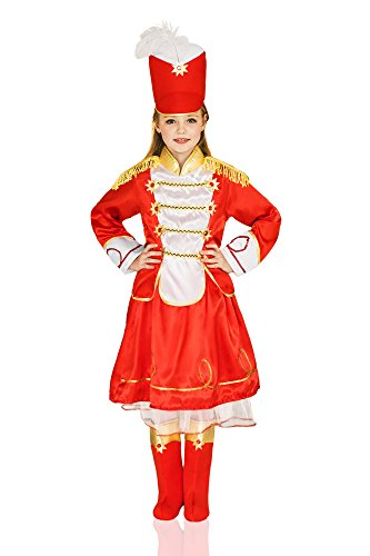 Kids Girls Nutcracker Fairy Tale Hussar Steadfast Tin Soldier Costume Dress Up (6-8 years, Red, White, (Fairy Tale Ball Costume Ideas)