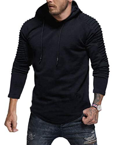 Cotton Pullover Ultimate Hooded (Fenxxxl Mens Pullover Big and Tall Pleated Slim Fit Winter Ultimate Cotton Jersey Adult Hoodie Sweatshirt F124 Navy XL)