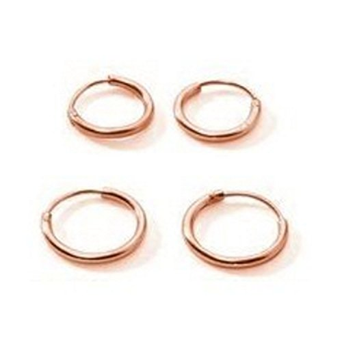 Two Pair Set Rose Gold Flashed Sterling Silver Small Endless Hoop Earrings Cartilage Nose Lips 10mm (Sterling Silver Small Endless Hoop)