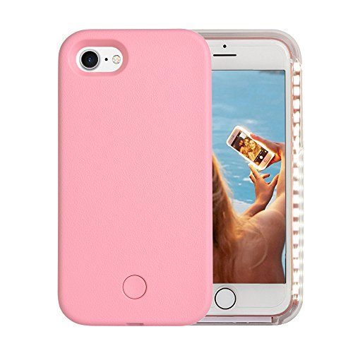 iPhone 7 Case, iPhone 8 Case, Wellerly LED Illuminated Selfie Light Cell Phone Case Cover [Rechargeable] Light Up Luminous Selfie Flashlight Case for iPhone 7 4.7inch (Pink)