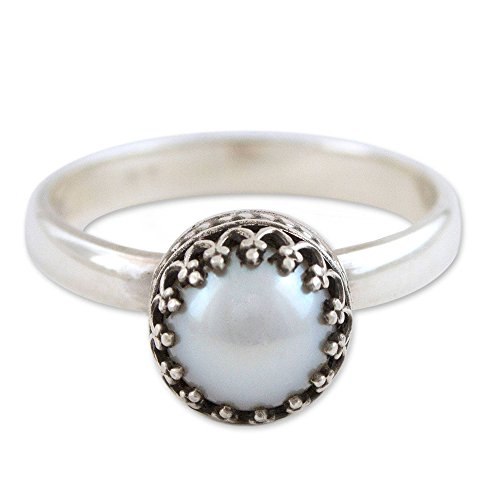 NOVICA Cultured Freshwater Pearl .950 Sterling Silver Handmade Single Stone Ring, Taxco ()