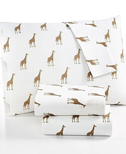 Martha Stewart WHIM Collection 100% Cotton Sheet Set Sparkley Giraffes King Size