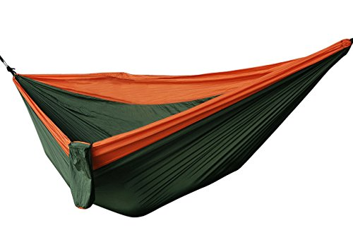 OuterStar Double Hammocks Camping Ultralight Parachute Nylon Hammock with Carrying Case and Tree Straps for Travel Hiking Backpacking Mats Swing Outdoor Yard (Orange Olive Green)
