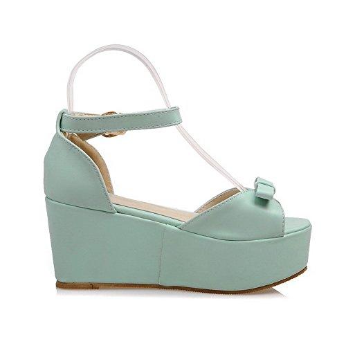 AmoonyFashion Womens High-Heels Soft Material Solid Buckle Open Toe Platforms & Wedges Green 574dgWARrC