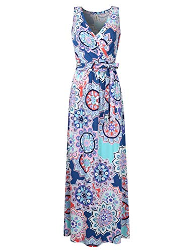 (Leadingstar Women Sleeveless V-Neck Floral Beach Holiday Maxi Dress (Purple, M))