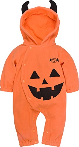 ZOEREA Baby Kids Creeper Costume Pumpkin Super cute Halloween Cosplay Partywear with hood Label 90/Age 6-9 Months