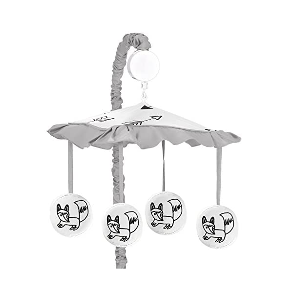 Sweet Jojo Designs Grey, Black and White Fox and Arrow Boys or Girls Musical Baby Crib Mobile