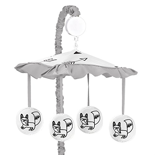 Sweet Jojo Designs Grey, Black and White Fox and Arrow Boys or Girls Musical Baby Crib Mobile